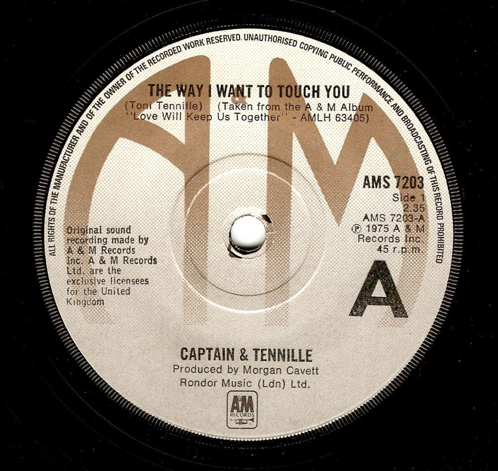 CAPTAIN AND TENNILLE The Way I Want To Touch You Vinyl Record 7 Inch A&M 1975